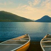 Nach einem langen, erlebnisreichen Tag: Blick zurück auf den Bowron Lake.