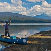 Unterwegs am Bowron Lake: Die ersten 25 Kilometer zum Eingewöhnen.