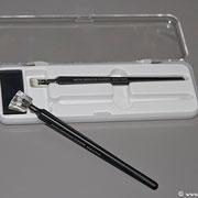 Die Sensorreinigungsstifte haben Tupfer in unterschiedlicher Größe, so dass man klein- bzw. großflächiger arbeiten kann.