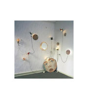 Network Oil on plywood lamps, painted balls, mirror, 1998.