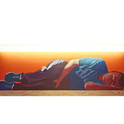 Sleeping Buddha Oil on plywood, fluorescent tube, 60x160x5.8cm, 2000.