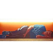 Sleeping Buddha Oil on plywood, fluorescent tube, 60x160x5.8cm, 2000.