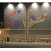 Ariel Navigator-ovan där. 2007   Site-specific engraving on aluminium 5x35 m. Folkhälsocentrum Laholm, Sweden.