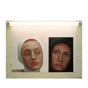 Black and White Oil on plywood, fluorescent tube, 50x65x5.6cm, 2001