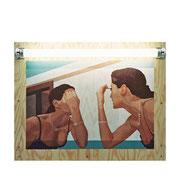 Mirror Oil on plywood, fluorescent tube, 41.5x49.5x5.8cm, 2000.