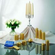 Dekorkerzen in Gold-Metallic-Optik