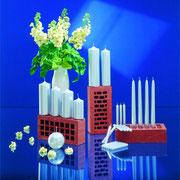 Dekorkerzen in Silber-Metallic-Optik