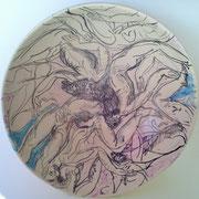 """Autor: Francisco Huazo  Título: De la serie """"Nuevos Contenedores"""" Técnica: Óxidos y colores cerámicos / esmalte transparente. Medidas: 34 x 13 cm   Año: 2015 Clave: 15 FH 02"""