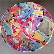 """Autor: Francisco Huazo  Título: de la serie  """"Nuevos contenedores"""" Técnica: Óxidos y colores cerámicos/esmalte transparente. Medidas: 37 x 16 cm  Año: 2014 Clave: 23C 14 FH"""