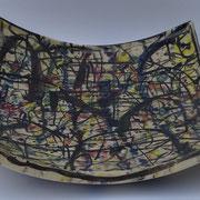 Autor: Francisco Huazo  Técnica: óxidos y colores cerámicos / esmalte transparente. Medidas: 35 x 11 cm  Año: 2014 Clave: 73C  14  FH