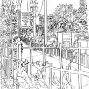 """French Market - Wolff's pencil on paper, 14""""x17"""""""