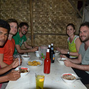Our guests from Austria eat Bakso in a little warung