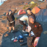 They just arrived on the camp on the crater rim of Sembalun