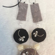 タイトル:モノトーンパール(グレー/紺)ネックレス  サイズ:200×90mm コメント:着物地を使ったパール付きネックレスです。リバーシブルになります。