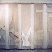 ●タイトル;「bud 〜芽生える〜/1997」 ●サイズ:3,000×5.350×100mm (7sheet) ●コメント:本格的にファイバーアートの分野へ踏み込んだ作品