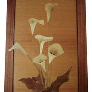 ●タイトル:「カラー」 ●サイズ:430×600×25mm ●コメント:実家の母が育てたカラーをもらってきて生けたものをそのまま作品にしてみました。好きな花の一つです。