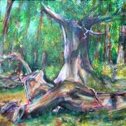 """""""Waldlichtung"""", Acryl auf Baumwolle, 50 cm x 40 cm, 2015"""