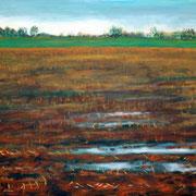 """""""Abgeerntetes Maisfeld in Sieglar"""", Acryl auf Leinwand, 70 cm x 50 cm, 2015"""