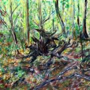 Minotaurus im Wald, Acryl auf Baumwolle, 70 cm x 50 cm, 2018, Privatbesitz