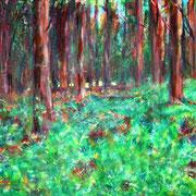 """Kiefernwald an der Müritz"", Acryl auf Baumwolle, 50 cm x 40 cm, 2015"