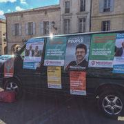 Notre cara'van insoumise. Permanence mobile / Réunion de place...devant la Mairie de Créon, 5 juin 2017