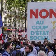 Tête de la Marche contre le coup d'état social des ordonnances Macron. Paris. 23/09/2017 #jaibastille