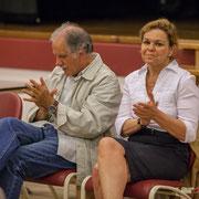 Applaudissements. Noël Mamère, Fabienne Hurmic. Lancement de campagne, 12ème circonscription de la Gironde, 17 mai 2017, Sadirac