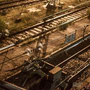 Extérieur nuit, rails, aiguillages, électrification, Gare Saint-Jean, Bordeaux