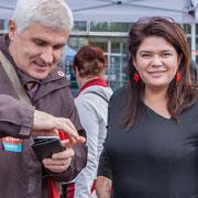 Raquel Garrido, (23 avril 1974, Valparaiso, Chili), femme politique franco-chilienne, avocate, chroniqueuse, oratrice nationale de La France insoumise. Marche contre le coup d'état social. Place de la Bastille, Paris. 23/09/2017 #jaibastille