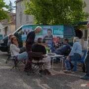 Permanence mobile / Réunion de place des Insoumis de la 12ème circonscription de la Gironde. Auros, 30 mai 2017