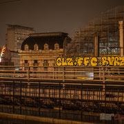 Extérieur nuit, verrière métallique 1896-1907, Gare Saint-Jean, Bordeaux