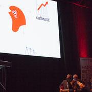 3 Les interventions sont entrecoupées d'infographies réalisées par les Jeunes Socialistes de Benoît Hamon.