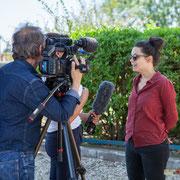 Prise de vue France 3 Aquitaine avec Anne Paceo; reportage de Marie Neuville, journaliste; Marc Lasbarrès, cadreur; Corine Berge, monteuse. Festival JAZZ360, Camblanes-et-Meynac, 10 juin 2017