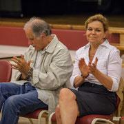 Applaudissements. Anne Laure Fabre-Nadler, Noël Mamère, Fabienne Hurmic. Lancement de campagne, 12ème circonscription de la Gironde, 17 mai 2017, Sadirac