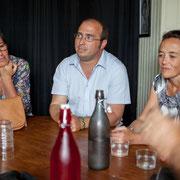 Nathalie Chollon-Dulong, suppléante de Christophe Miqueu, candidat aux élections législatives, soutenus par Mathilde Feld, Présidente de la CDC du Créonnais. 17 mai 2017, Saint-Macaire