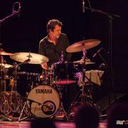 Frédéric Petitprez, batteur. Rémi Panossian RP3 Trio, Festival JAZZ360, Cénac 9 juin 2017