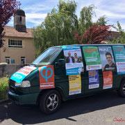 Cara'Van des Insousmis de la 12ème circonscription de la Gironde au Centre hospitalier Sud Gironde, à la Réole, 8 juin 2017