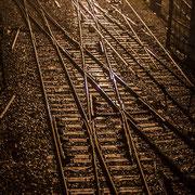 Extérieur nuit, rails, aiguillages, Gare Saint-Jean, Bordeaux