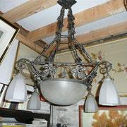 Suspension  fer forge verre dépoli blanc H 95cm L 60cmS 450€