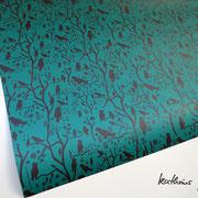 Geschenkpapier Vögel grün