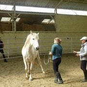 Foto: Elisabeth de Corbigny dando clases en el trabajo en libertad