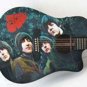 """Davide Ricchetti """"Beatles guitar - Rubber Soul"""" aerografia e dipinto mano libera su chitarra Martin, 2013."""