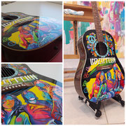 """Led Zeppelin guitar"", airbrush on acoustic Yamaha J45, 2019"
