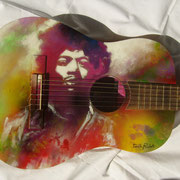 """Jimi"" ,airbrush and handpainted on classic guitar"