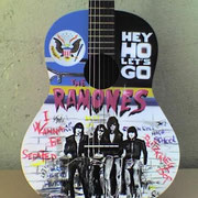 """Ramones"" ,airbrush and handpaint on classical guitar"