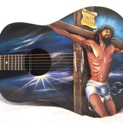 """Jesus guitar"" , airbrush and handpainted on classic guitar, USA"