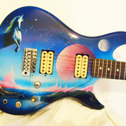 """Fantasy guitar"", airbrush and handpaint on electric guitar"