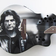 """Liga"" , airbrush and handpaint on electric guitar, 2013"