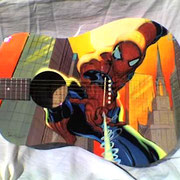 """Spiderman guitar"", airbrush and handpaint on acoustic left guitar"