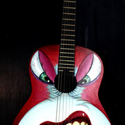 """Hungry"", handpainted on classic guitar"